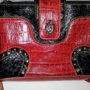 M.C.  Black and Red Western Style Handbag